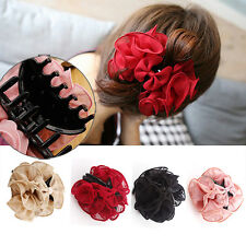 CHIC Women Girls Charm Rose Flower Bow Big Hair Claw Jaw Clip Clamp Barrette