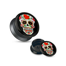 Ear Piercing Plugs - Pair of Red Sugar Skull Black Acrylic Stash Screw Fit Plugs