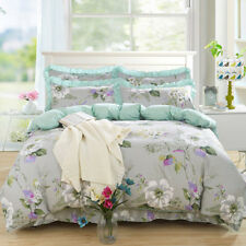 Cotton Flower Duvet Doona Quilt Cover Set Single/Queen/King Size Bed Covers Gray