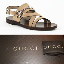 36 37 38.5 39 NEW $595 GUCCI Tan SUEDE LEATHER Horsebit Flat Gladiator SANDALS
