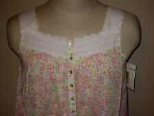 NWT Med LG XL Eileen West Springtime Floral Cotton & Lace Strap Short Nightgown