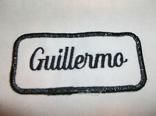 GUILLERMO USED EMBROIDERED VINTAGE SEW ON NAME PATCH TAGS ASSORTED COLORS
