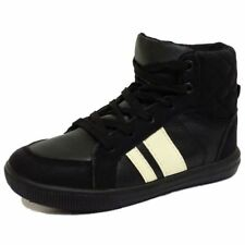 GIRLS BOYS CHILDRENS KIDS BLACK LACE-UP TRAINERS FLAT BOOTS SHOES PUMPS UK 10-3