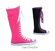 New Girls Boys Kids Knee High Top Canvas Boot Tennis Shoes Sneakers Lace Up
