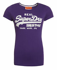 New Womens Superdry Factory Second Vintage Logo T-Shirt Purple