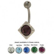 Belly Button Ring with CZ Gem