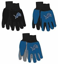 NFL Detroit Lions No Slip Gripper Utility Work Gardening Gloves NEW!