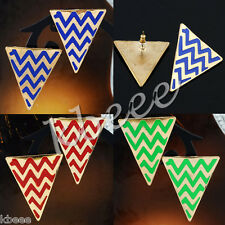 Pair Golden Waviness Stripe Geometry Triangle Ear Stud Punk Metal Enamel Earring