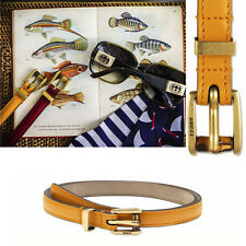 sz 26 30 32 36 NEW GUCCI Yellow LEATHER BAMBOO BUCKLE Summer SKINNY BELT Dustbag