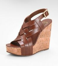 Tory Burch 'Ace' Wedge Sandal Sienna Leather New BNIB UK 7 8 40 41 RRP £310