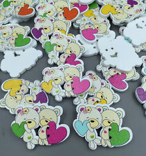 DIY Mixed Color Couple Bear Painting Wood Buttons sewing scrapbook 32mm