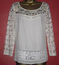 New M&S Indigo Ivory Cream Lace Cotton Tunic Blouse Boho 8 Last 2 Clearance!