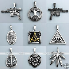 Stainless Steel Gothic Punk Gun Wrench Leaf Charm Pendant Chain Necklace Jewelry