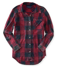 aeropostale womens long sleeve boyfriend plaid woven shirt