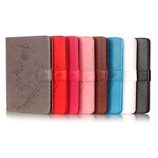 embossed butterfly & floral  folding folio stand pu leather case for ipad air2