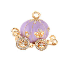 Pumpkin Carriage Charm Rhinestone DIY Key Ring Exquisite Bracelet Pendant Decor