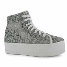 Jeffrey Campbell Play hOMG Lace Platform Shoes Womens Grey Trainers Sneakers