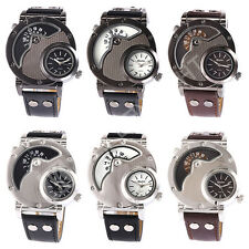 New Russian Army Military Dual Time Dial PU Leather Band Mens Quartz Wrist Watch