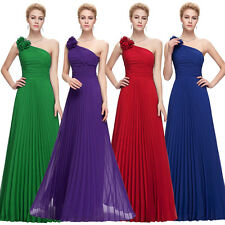 One Shoulder Chiffon Pleated Formal Long Sexy Women Bridesmaid Evening Dresses