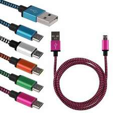 1m 2m 3m Strong Braided Fabric Micro USB Data Sync Charger Cable Lead Smartphone