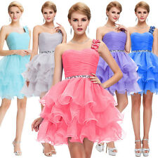 Short  Dress Cocktail Bridesmaid Gown Party Prom Evening Puffy One Shoulder Sexy