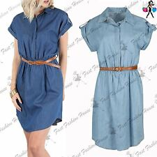 Womens Shirt Dress Ladies Denim Collared Button Ruched Curved Belted Turn Up Top