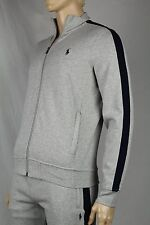 Polo Ralph Lauren Grey Full Zip Sweatshirt Track Jacket Navy Blue Pony NWT