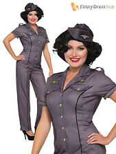 Ladies Air Force Anna Costume Adults 1940s RAF Uniform Fancy Dress Womans Outfit