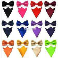 New Men Satin Silk Solid Man Bowtie Bow Tie Handkerchief Pocket Square Hanky Set