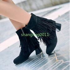 Womens Fashion Boots Faux Suede Chunky heels Side Zip Tassel Ankle Boots Shoes