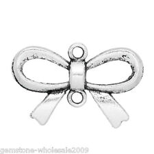 "Wholesale Lots Charm Connectors Bowknots Silver Tone 14mmx21mm(4/8""x7/8"")"