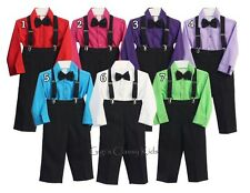 New Boys Black Red Fuchsia Purple Lilac Turquoise White Green Suit Outfit Easter