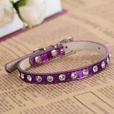 Leather Studded Dog Collar Rhinestones Accessories Collar For Small Dogs RedPink