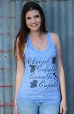 Original Cowgirl Clothing Horse in 4 Languages Tank Top Shirt Cowgirl Blueberry