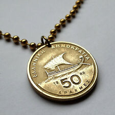 1990 Greece 50 Drachmes coin pendant GREEK SHIP necklace Viking sail sea n000699