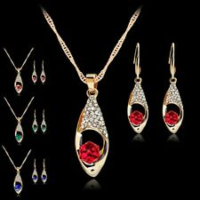 Fashion Prom Jewelry Set Magic Cube Crystal Pendant Dangle Necklace Earrings