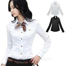 Vintage Womens Collar shirt Work long sleeve Cotton Blouse Casual Top Size