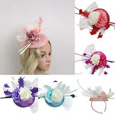 Feather Fascinator Flower Veil Linen Top Hat Millinery Headband Wedding