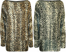 New Plus Size Womens Animal Leopard Print Ladies Long Batwing Sleeve Top 12 - 26