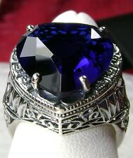 10ct*Sapphire* Heart Sterling Silver Deco Filigree Ring Size Any {Made to Order}