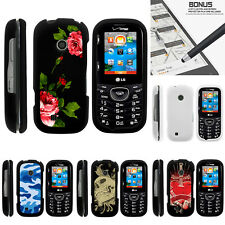 For LG Cosmos 3 VN251S Case Hard Snap On 2 Piece Slim Shell Red Roses