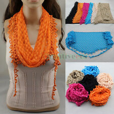 Fashion Women's Embroidery Lace Crochet Oval Triangle Mantilla Scarf Wrap Tassel