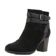 Womens Clarks Enfield River Black Suede Heeled Ankle Boots Sz Size