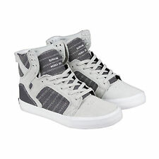 Supra SKYTOP Mens Grey Leather High Top Lace Up Sneakers Shoes