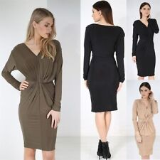 Womens Ladies Plain Long Sleeve V Deep Plunge Neck Ruched Front Knot Midi Dress
