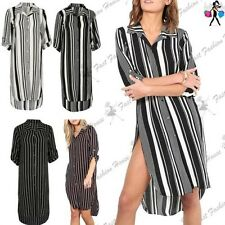 Womens Ladies Stripe Collared TurnUp Button Sleeve Hi Low Curved Hem Shirt Dress