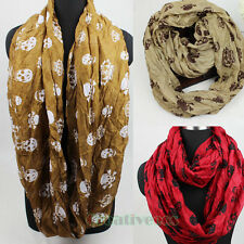 Fashion Skull Imperial Crown Print Viscose Infinity Loop Cowl Eternity Scarf