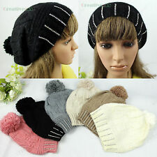 Fashion Women's Winter Ski Cap Knit Wool Rabbit Warm Hat Cute Beanies Big PomPom