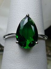 4ct Pear Cut Tear *Green Emerald* Sterling Silver Filigree Ring Size: Any/MTO