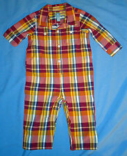Baby Gap NWT Red Navy Yellow Plaid Woven Shirt Romper 0-3 3-6 6-12 12-18 $27
